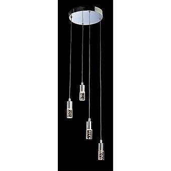 Lámpara Colgante 4 Focos Led, Cromo Y Acrílico