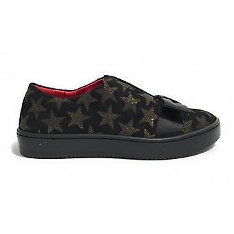 Women's Shoes Aurora Sneaker Suede Black Suede Stars Glitter Gold With Bow D18au04