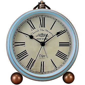 Saytay Classic Retro Clock, Blue Metal European Style Vintage Silent Table Desk Alarm Clock Non Tick