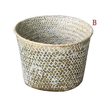 Foldable Handmade Bamboo Storage Basket Laundry Straw Patchwork Wicker Rattan