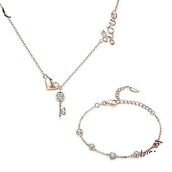Rose gouden slot liefde hanger ketting sieraden set