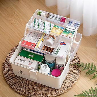 3 laag draagbare eerste hulp kit, plastic drug multifunctionele geneeskunde kabinet