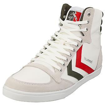 hummel Slimmer Stadil High Mens Casual Trainers in White Green