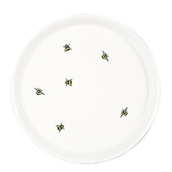 Bee Casual Side Plate Patterned Porcelain Snack Dessert Dishes 21.5cm White