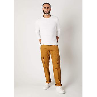 Firswood mens organic cotton loose fit cargo trousers - dull gold