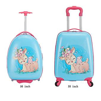 Kids Luggage 16'' Rounded Cartoon Travel Suitcase On Wheels Carry On Trolley