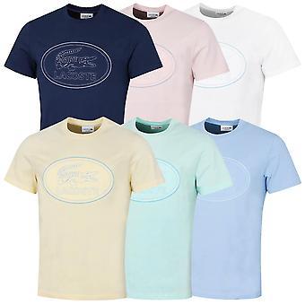 Lacoste Mens 2021 TH0453 Camiseta de cuello redondo de algodón de algodón vintage