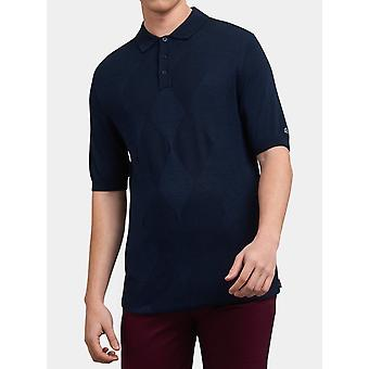 Stokes Navy Argyle Pattern Knitted Polo Shirt