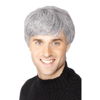 Mens Grey Old Man Wig Fancy Dress Costume Accessory