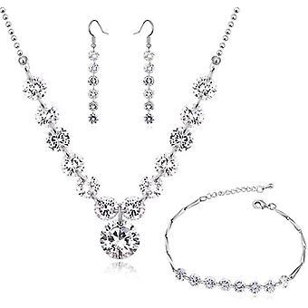 Hochzeit Schmuck-Set Wei Zirkonia Kristalle Strangkette Ohrhnger Ohrringe Armband 18 kt Wei