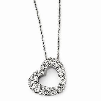 925 Sterling Silver Spring Ring CZ Cubic Zirconia Simulado Diamante Love Heart Colar 18 Polegadas Joias Presentes para Mulheres