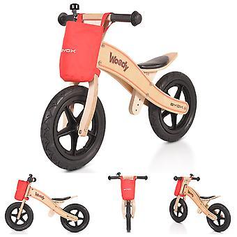 Byox trä balanshjul Woody, 12 tums massivt gummi däck, PU sadel justerbar