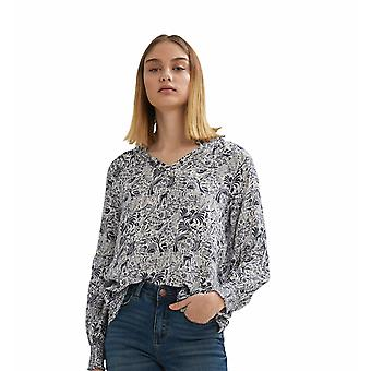 Shuuk Light and Airy Printed Peasant Blouse with Adjustable Open Ruffle Collar