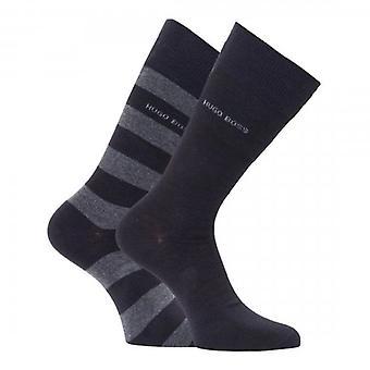 Hugo Boss 2 Pack Block Stripe Black/Grey Socks 50448248