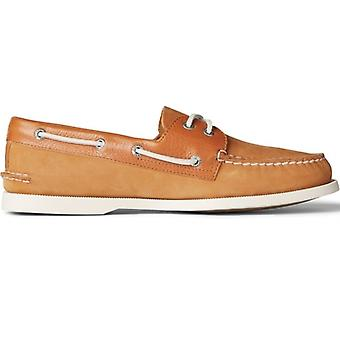 Sperry A/o 2-eye Tumbled/nubuck Mens Leather Boat Shoes Tan