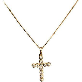 Amen croce piccola argento ip oro giallo e zirconi halsband clbogb