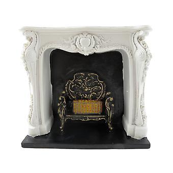 Dockor Hus Rokoko vit eldstad med svart & Guld galler harts 1:12 Möbler