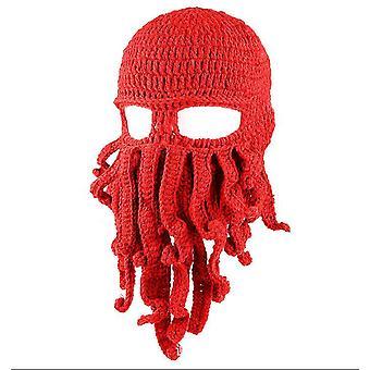 Červená chobotnica klobúk funny maskované ručne vyrábané háčkované vlnené teplý klobúk az9441