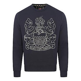 Aquascutum Pixel Aldis Logo Navy Sweatshirt