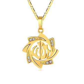 18k gold plated chain Allah Muslim m crystal sun flower Islam