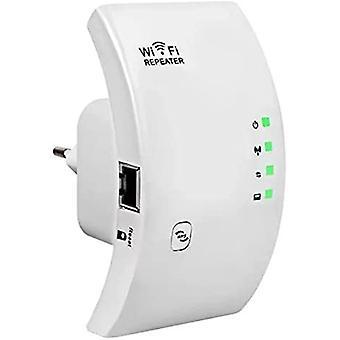WiFi Extender טווח מגבר 300Mbps WiFi מכסה עד 200㎡, WiFi Extender המאיץ נקודת גישה יציאה, מגביר את כיסוי WiFi, תואם לכל תיבות האינטרנט, יציאת Ethernet, WPS-לבן