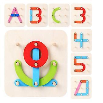 Puinen kirjainnumeron muotoinen Pegboard Set, Montessori-lelu.