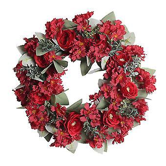 Artificial Rose Flower Wreath Simulation Eucalyptus garland Wedding Home Decor