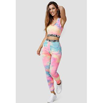 Womens Stretch Tracksuit Yoga Fitness Two Piece Tank Top Leggings Holi Suit Set