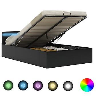 vidaXL تخزين السرير الفضاء الهيدروليكية مع ليد الأسود الجلد الاصطناعي 120×200 سم