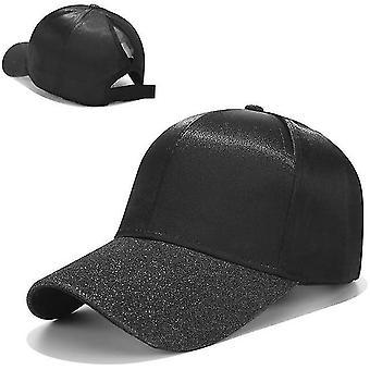Femei Ponytail Baseball Cotton Caps, Pălărie snapback de vară (negru)