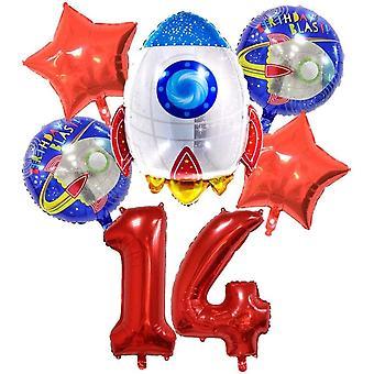 , großes Raketen Weltraum Luftballon Set, XL Zahlen-Ballon Zahl 14 rot, Happy Birthday