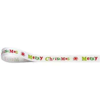 SISTE FÅ - 10m hvit god jul 10mm bånd for gaveinnpakning håndverk