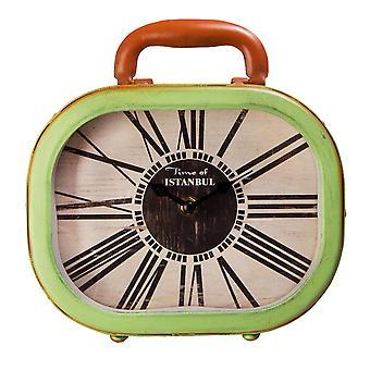Xoom Suitcase Table Clock Green, Decorative Desktop Clock, Iron, 20.8 cm, Tumbled Dial, Vintage Design