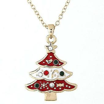 Christmas Tree Design Pendant And Necklace(Gules)