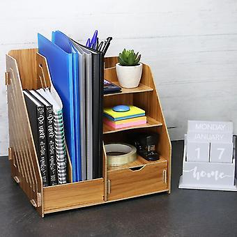 Puinen työpöydän järjestäjä paperitavaralle ja Asiakirjojen tallennus kynällä ja Kynänpidin ja