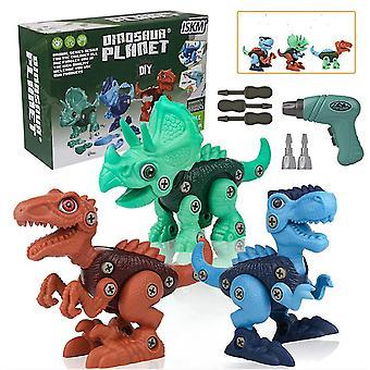 Tag dinosaurbyggerilegetøj med elektrisk boremaskine til børn i alderen 3-8 år ad