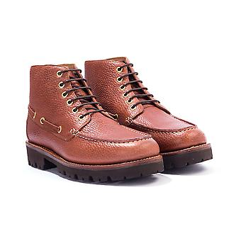 Grenson Easton Grained Leather Moc Toe Boots - Tan