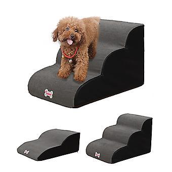 Hundetreppe 3 Stufen Treppen für kleinen Hund Katze Hundehaus Haustier Rampe Leiter Anti-Rutsch Hunde Bett Mesh Stoff Treppe