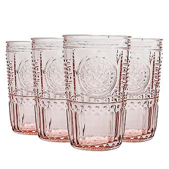 8x Verres Highball romantiques décorés Jus d'eau Cocktail Tumblers 475ml Rose