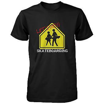Let's Go Skateboarding teken T-shirt Graphic Tee voor Skateboarder mannen Shirt grappige Shirt