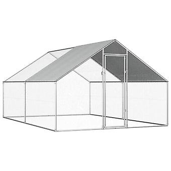 Udendørs kyllingebur galvaniseret stål 2,75x4x1,92 m