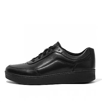 FitFlop Rally X™ Leather Sneakers In All Black
