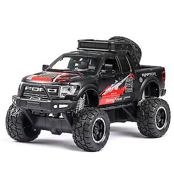 Toy cars 1:28 diecast ford raptor f150 suv metal model car toy wheels alloy vehicle sound and light pull back