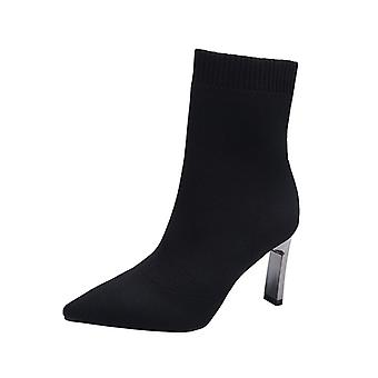 Femmes Stilettos Heel Pointed Toe Ankle Stretch Socks Boots