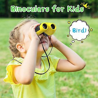8x21 Crianças Binoculates Compact Shockpieces Presente de Natal para crianças amarelas