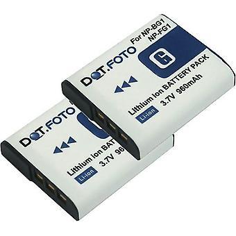 2 x Dot.Foto Sony NP-BG1, NP-FG1 erstatningsbatteriet - 3,7 v / 960mAh