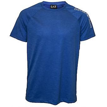Emporio Armani EA7 Sleeve Logo Crew-Neck Beach T-Shirt, Royal Blue