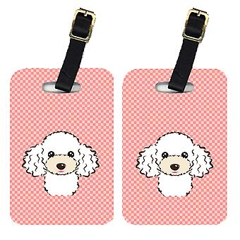Pair of Checkerboard Pink White Poodle Luggage Tags