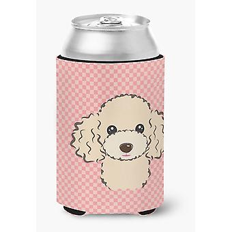 Carolines Treasures  BB1258CC Checkerboard Pink Buff Poodle Can or Bottle Hugger