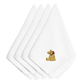 Christmas bamse brodert servietter sett med 4